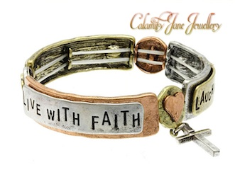 Tri-Tone Hammered Friendship Message Charm Bracelet