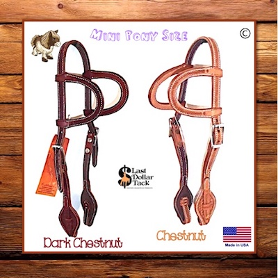 Small Mini Pony 2 Ear Headstall Tooled Leather Quick Change Bit Connectors