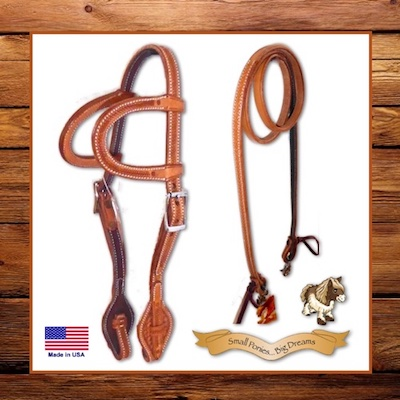 Small Pony 2 Ear Headstall & Closed Reins Wicket & Craig Premium Russet Leather