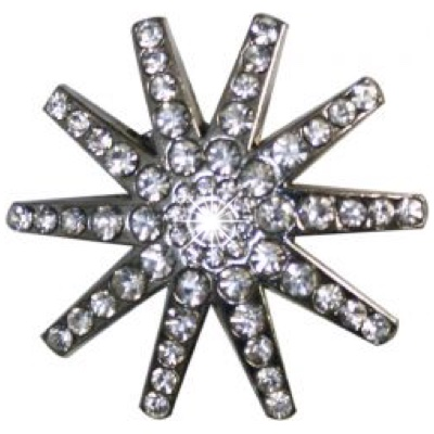 Silver Spur Rowel Concho Accented with Crystal Rhinestones