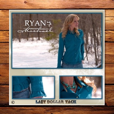 Ryan Michael Collection - Uniquely American - Ladies Designer Western Shirt- Peacock