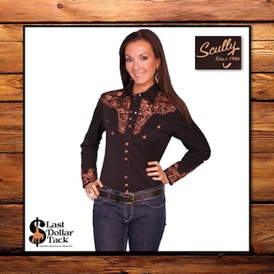 Ladies Scully Western Shirt Black with Bronze Copper Embroidery