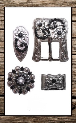 Hand Engraved Silver & Black Crystal Complete Buckle Replacement Set