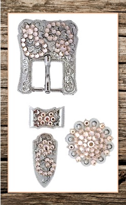 Hand Engraved Silver & Peach Crystal Complete Buckle Replacement Set