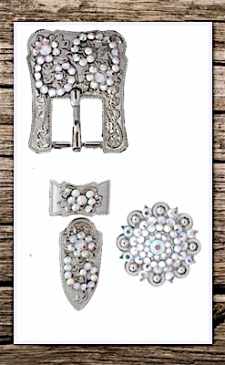 Hand Engraved Silver & Rainbow Crystal Complete Buckle Replacement Set