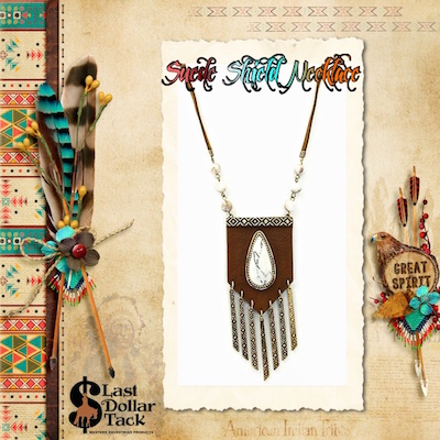 Navajo Suede Shield Necklace Burnish Texture Tear Drop Stone & Beads