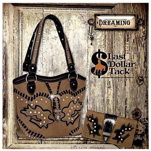 Taupe Handbag & Wallet Set with Black Western Accents & Crystal Buckle