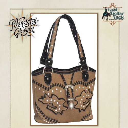 Taupe Handbag Black Western Accents & Crystal Buckle