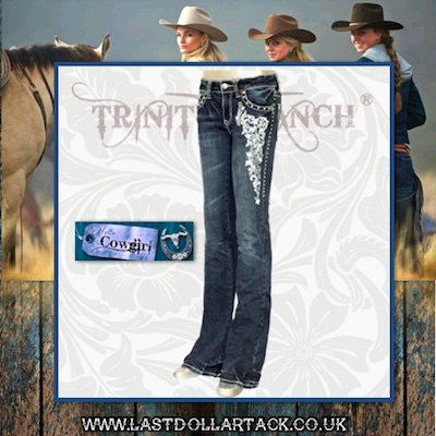 Trinity Ranch Collection Designer Jeans Crystal Cascading Embroidery - Size 10/12