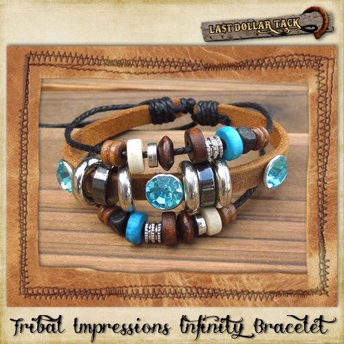 Vintage Style Hand Crafted Turquoise Bead Infinity Charm Bracelet