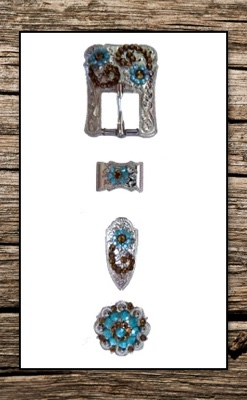 Hand Engraved Turquoise with Tea Silver Buckle Complete Replacement Set
