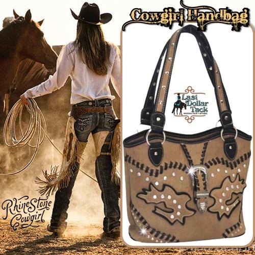 Taupe Handbag Black Western Accents & Crystal Buckle