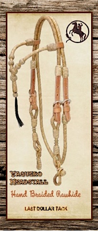 Hand Braided Soft Natural Rawhide & Leather Vaquero Headstall