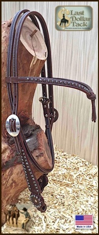 High Quality Futurity Brown Headstall with Sunburst Dots - Chocolate Brown - Full Size