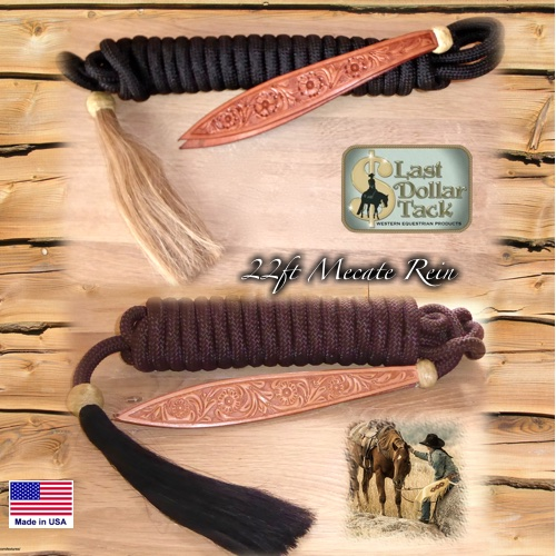 Premium Mecate Rein 22ft Braid Nylon with Horse Hair Tassel