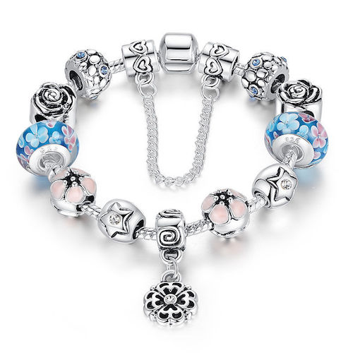 Charm Bracelet Blue & Pink Murano Glass & Silver Platinum Beads