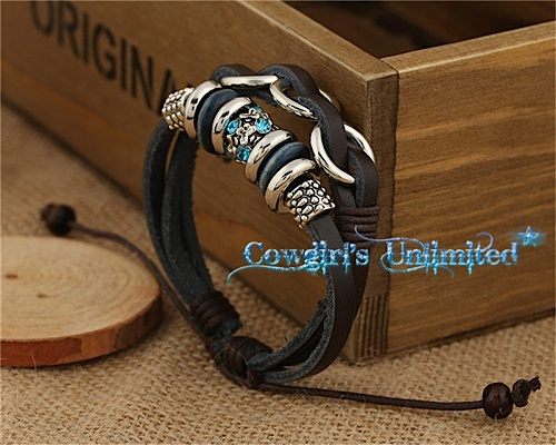 Cowgirl Gypsy Handcrafted Leather & Hemp Cord Infinity Rings Bracelet