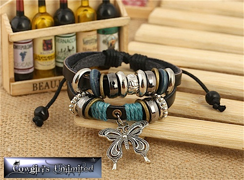Cowgirl Gypsy Tribal Butterfly & Bead Bracelet
