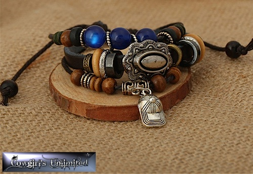 Cowgirl Gypsy Tribal Blue Bead & Charm Bracelet
