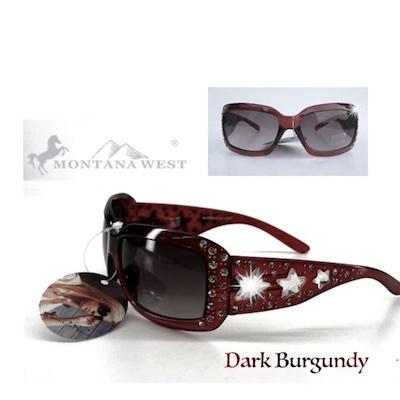 Montana West Designer Sunglasses Crystal Stars Accents Dark Burgundy