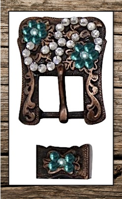 Antiqued Vintage Copper & Teal Crystal Replacement Headstall Buckle Set